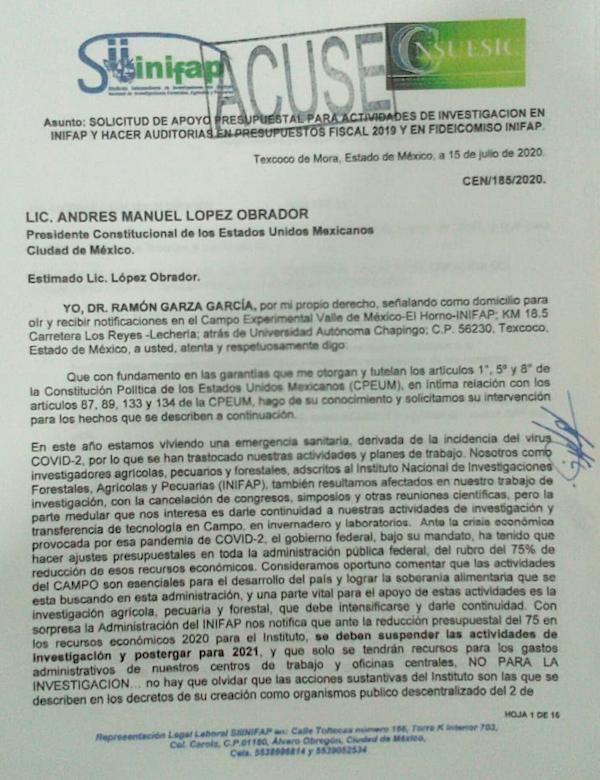 Investigadores del INIFAP piden a AMLO reconsiderar recortes