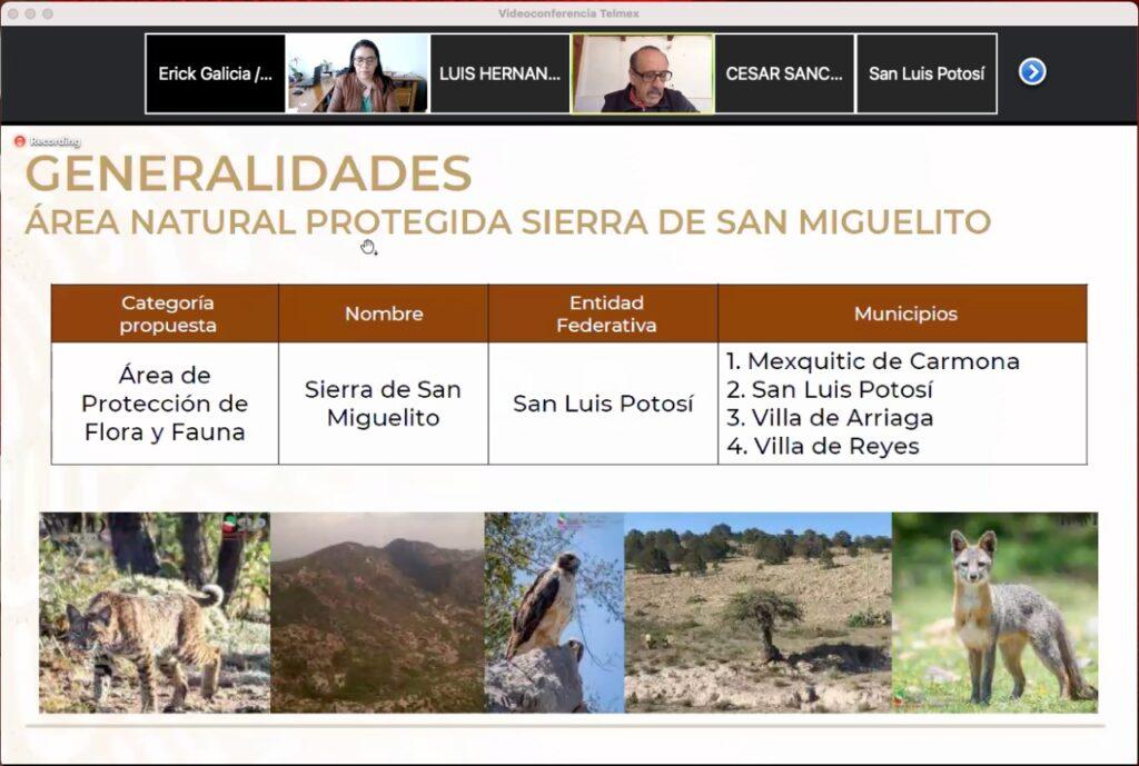 Trabajan en decreto de ANP de la Sierra de San Miguelito