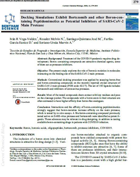 Analizan compuestos con boro contra SARS-COV-2
