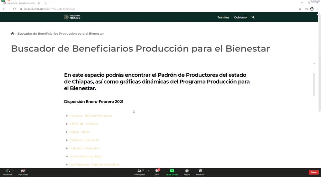 A disposición de productores  Buscador de Beneficiarios