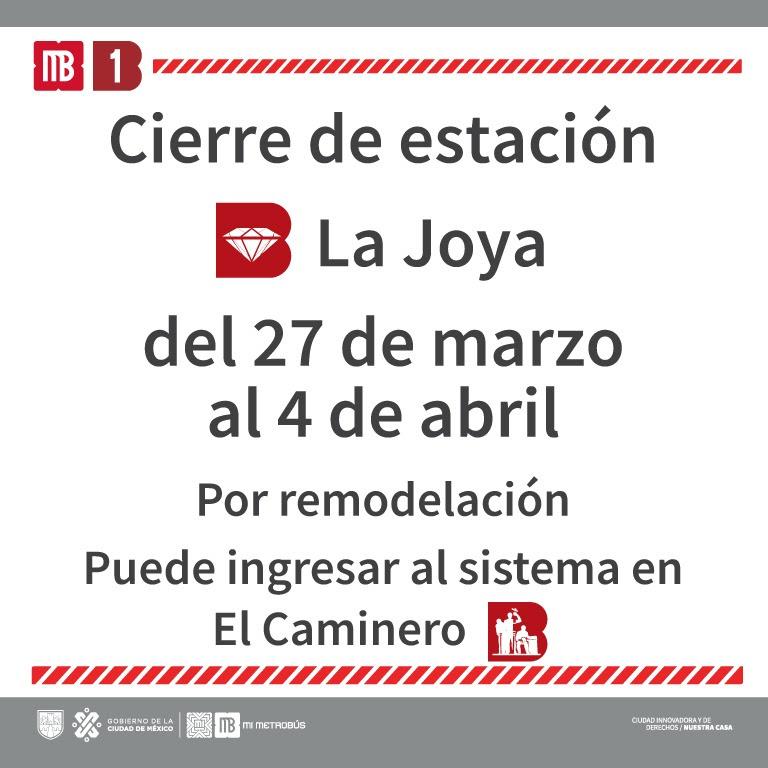 Anuncia Metrobús cierre por trabajos en estación La Joya