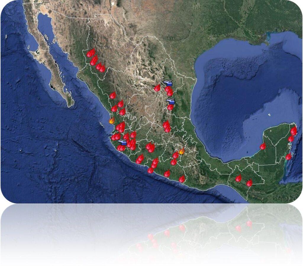 Se registran 52 incendios forestales activos